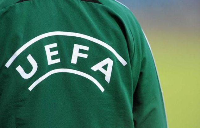 Logo UEFA, le 18 août 2011 lors de Differdange-PSG, au Luxembourg.