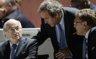 Sepp Blatter, Michel Platini et Jérôme Valcke à Zurich, le 29 mai 2015.