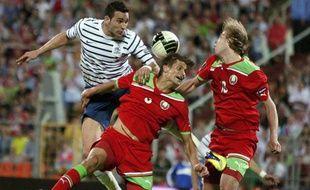 Le défenseur de l'équipe de France, Adil Rami, le 3 juin 2011, à Minsk, contre la Biélorussie.