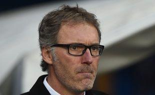 Le coach du PSG Laurent Blanc à Manchester, le 12 avril 2016.