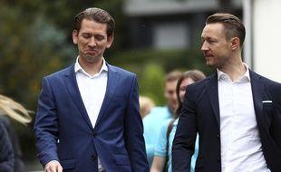 Sebastian Kurz (à gauche) à Vienne le 28 septebre 2019.