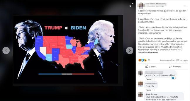 Sur ce post Facebook, un internaute se demande comment les médias peuvent annoncer Joe Biden comme 46e président des Etats-Unis avant l'administration américaine.