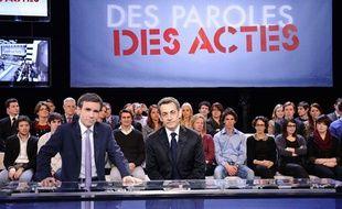 Nicolas Sarkozy sur le plateau de «Des paroles et des actes», le 6 mars 2012.