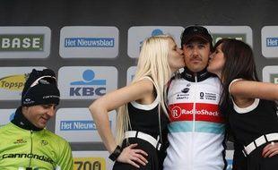 Peter Sagan sur le podium du Tour des Flandres, le 31 mars 2013