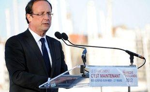 François Hollande le mardi 27 mars 2012 lors d'un meeting à Boulogne-sur-Mer.