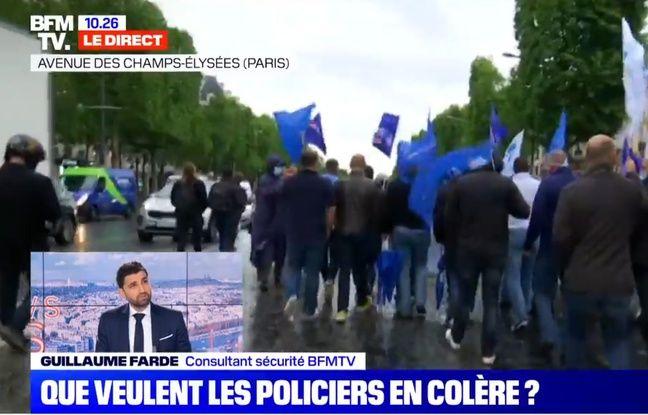 Un autre extrait de la couverture de la manifestation policière du 12 juin à Paris sur BFMTV.