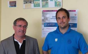 BËgles, le 26 ao˚t 2014 - Bernard Coly, prÈsident de l'UMB-B et son entraÓneur, Emmanuel Mayonnade.