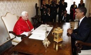 Rencontre entre le Pape Benoît XVI et Barack Obama au Vatican le 10 juillet 2009.