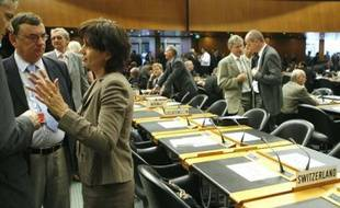 Début des négociations sur la libéralisation du commerce mondial au siège de l'OMC à Genève en Suisse