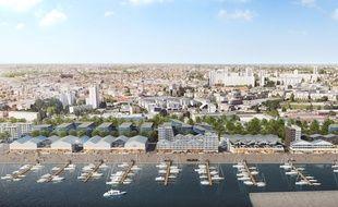 Vue aérienne du futur port de plaisance de Bordeaux, dont les travaux s'achèveront en juin 2018