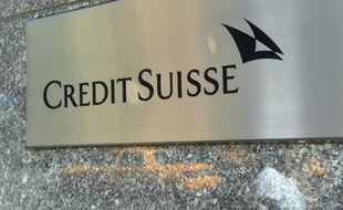 Le logo de la banque suisse Crédit Suisse, le 19 mai 2014 à New York