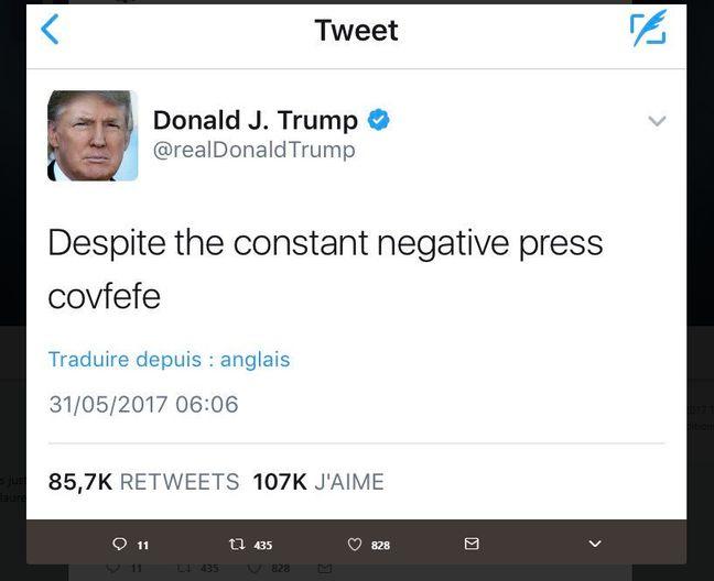 Capture d'écran du tweet dans lequel Donald Trump a fait une faute de frappe, détournée par la suite par les internautes.