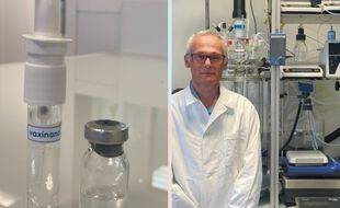 Illustration du vaccin nasal (à gauche). A droite, le professeur Didier betbeder, patron de la start-up lilloise Vaxinano.