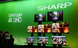 Des écrans ultra plats 4K UHD Sharp présentés à Las Vegas le 5 janvier 2015