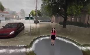 Un fond vert impressionnant pour simuler les futures inondations de l'ouragan Florence
