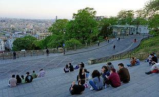 Sur la butte Montmartre, le 26 avril 2020.