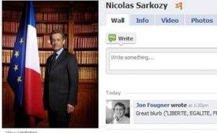 Le profil public Facebook de Nicolas Sarkozy