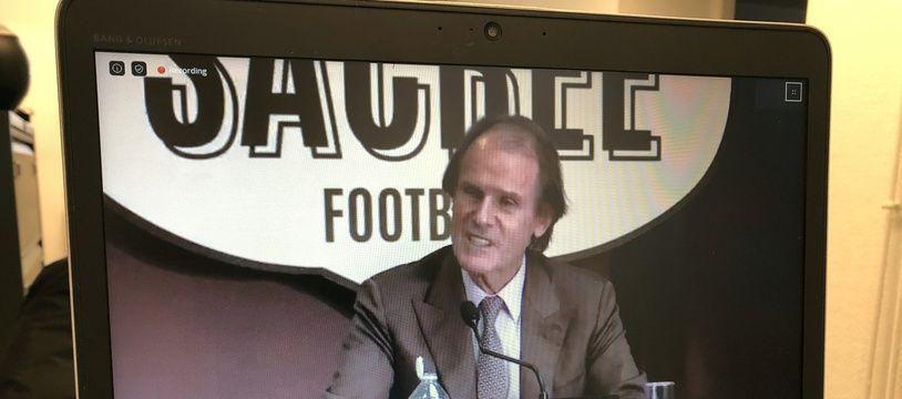 Bernard Joannin, président de l'Amiens SC, lors de la visio conférence de presse de mardi.