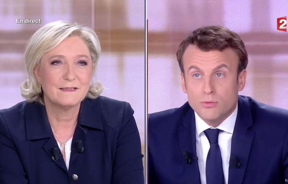 Marine Le Pen et Emmanuel Macron lors du débat présidentiel du 3 mai 2017. – Capture France 2