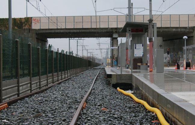 Le 10 février 2016, chantier de la nouvelle branche de la ligne C du tramway, ici à la station Frankton de Blanquefort
