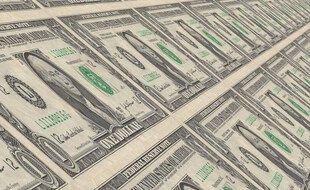 Une planche à billets de dollars.
