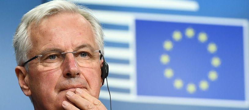 Michel Barnier, durant la conférence de presse après le Conseil européen, le 22 mai 2017 à Bruxelles.