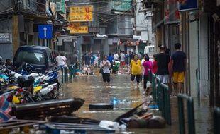 A Macao, des inondations après le passage du typhon qui a provoqué la mort de 12 personnes le 23 août 2017.