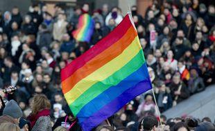Le drapeau LGBT lors d'une manifestation en faveur du mariage pour tous en 2013.