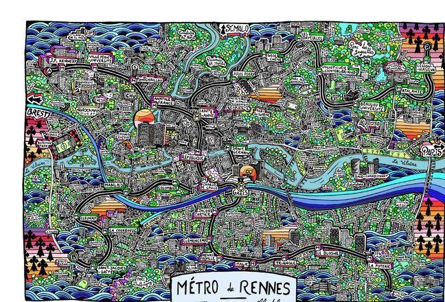 Pour célébrer l'arrivée de la deuxième ligne de métro, Alcatela a récemment desiné une carte de Rennes.