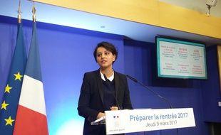 Najat Vallaud-Belkacem, à sa conférence de presse le 09/03/2017.