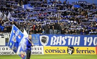 Les supporteurs du SC Bastia lors du match de Ligue 1 contre Lyon, le 2 novembre 2014 au stade Armand Cesari à Bastia