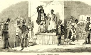Une vente d'esclaves à Richmond, en Virginie, Etats-Unis.