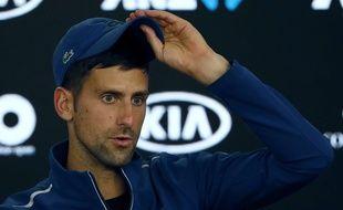 Novak Djokovic en conférence de presse lors de l'Open d'Australie, le 22 janvier 2018.