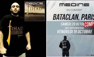 Montage des visuels de l'album «Jihad» sorti en 2005 et du prochain concert de Médine au Bataclan