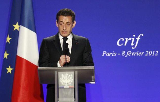 Nicolas Sarkozy au dîner du Crif, au pavillon d'Armenonville, le 8 février 2012.