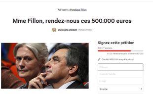 Capture d'écran de la pétition lancée par un élu de Puteaux adressée à Pénélope Fillon.