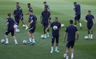 L'équipe de France de football à l'entraînement, à Budapest le 22 juin 2021.