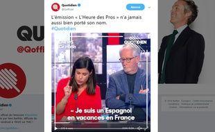 «Quotidien» a publié sur Twitter l'extrait de «L'heure de Pros».