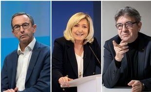 Bruno Retailleau, Marine Le Pen et Jean-Luc Mélenchon.