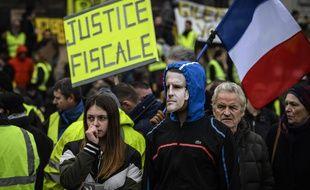 Des «gilets jaunes» manifestent à Lyon à l'occasion de l'acte 16, samedi 2 mars.