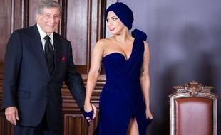 "Lady Gaga et Tony Bennett, lundi 22 septembre 2014 à Bruxelles, avant un mini-concert pour le lancement de leur album ""Cheek to Cheek""."