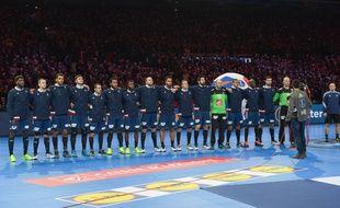 L'équipe de France de handball avant le 8e de finale du Mondial face à l'Islande, le 21 janvier 2017 à Lille.