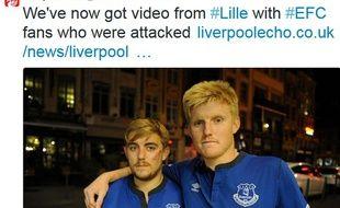 Capture d'écran du compte Twitter du Liverpool Echo, qui fait témoigner deux supporters d'Everton aggressés par des hooligans à Lille, le 22 octabre 2014.