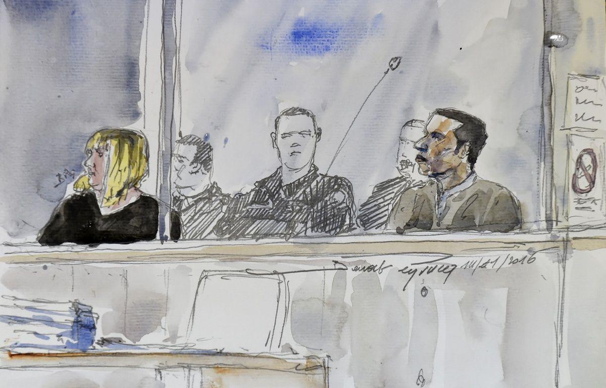 Cécile Bourgeon et Berkane Makhlouf, dans le box des accusés, lundi 14 novembre, à la cour d'assises de Riom. – Benoit PEYRUCQ / AFP