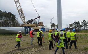 Le chantier du parc éolien citoyen de Béganne dans le Morbihan.