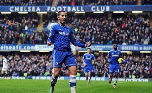 Eden Hazard, l'attaquant de Chelsea, célèbre son but inscrit contre Swansea le 26 décembre 2013.
