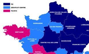 Carte de France au premier tour des régionales