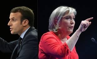 Emmanuel Macron et Marine Le Pen (montage).