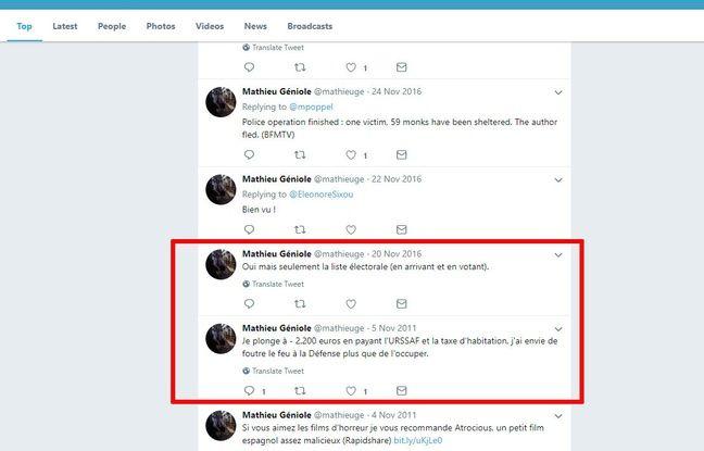 Mathieu Géniole semble avoir supprimé tous ses tweets entre novembre 2011 et 2016.
