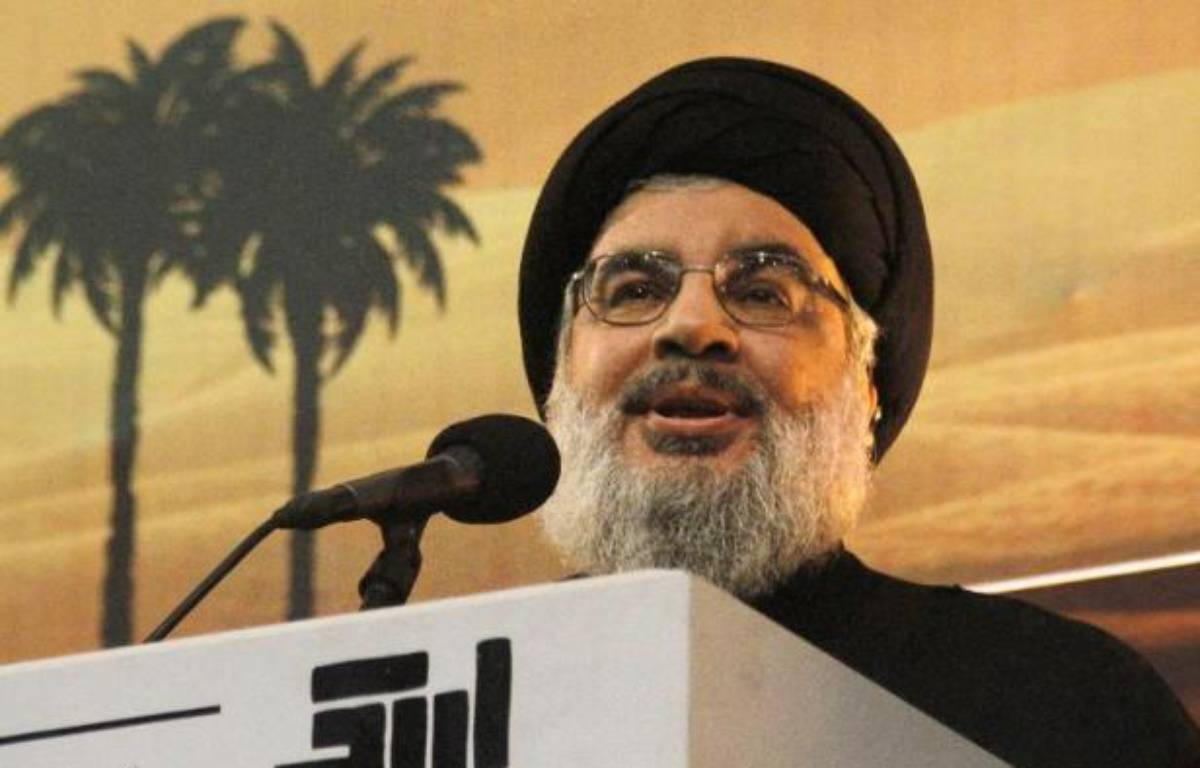 Le chef du Hezbollah, Hassan Nasrallah, s'exprime devant ses partisans dans la banlieue sud de Beyrouth, le 3 novembre 2014 – - AFP